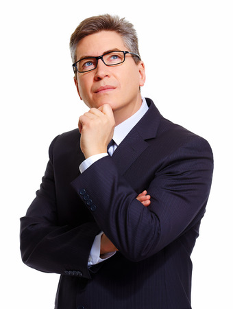 sceptical: Portrait of handsome Businessman isolated on white background. Stock Photo