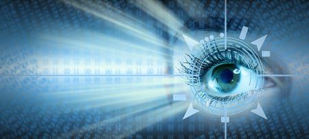 ojo humano: Collage ojo humano sobre la tecnolog�a futurista de fondo Foto de archivo