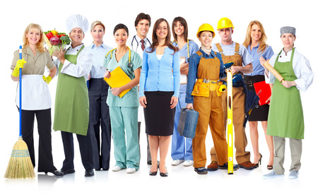 Group of workers people. Isolated on white background Stock Photo - 27734629