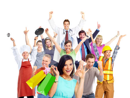 happy family shopping: Shopping woman and group of happy people isolated white . Stock Photo