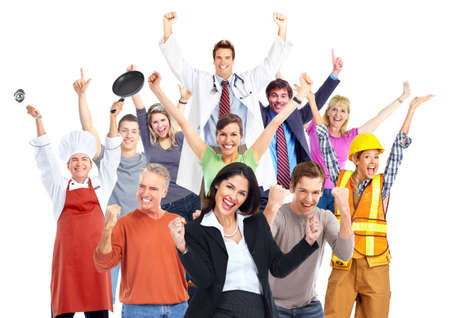 people dancing: Group of happy workers people isolated on white background. Stock Photo