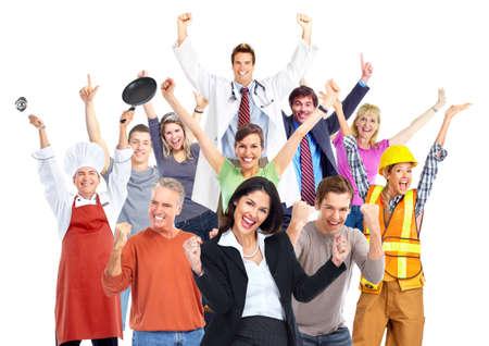 people dancing: Gruppo di operai felici le persone isolato su sfondo bianco. Archivio Fotografico