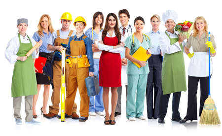 Group of workers people. Isolated on white background Stock Photo - 27734690