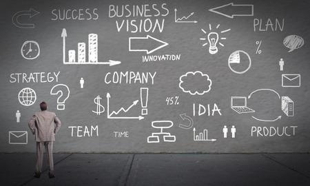 schemes: Businessman looking at Innovation plan banner background