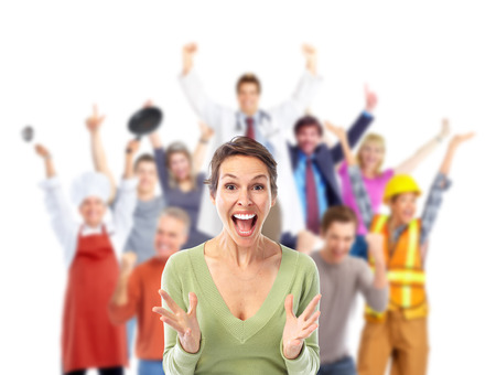 excited: Group of happy workers people isolated on white background. Stock Photo