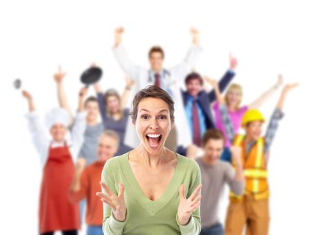 vzrušený: Skupina happy pracujících lidí, na bílém pozadí.