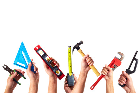 tools construction: Set of construction tools. House renovation background. Stock Photo