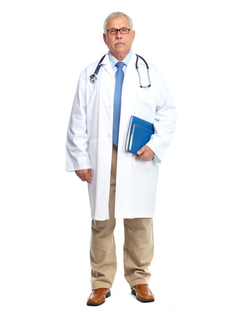 Doctor physician Standing Isolated on white background. photo