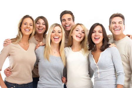 happy crowd: Group of friends young smiling people portrait. Stock Photo