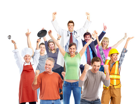 group of hands: Group of happy workers people isolated on white background