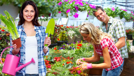 Gardening woman with plant in the garden Stock Photo - 27922435