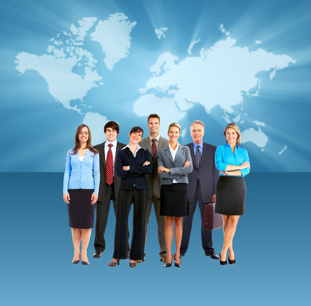 Group of business people team  Over blue map background photo