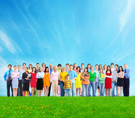cohort: Big family people group over blue sky background