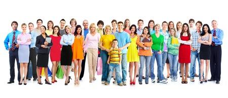 Grande famille de personnes du groupe isolé sur fond blanc