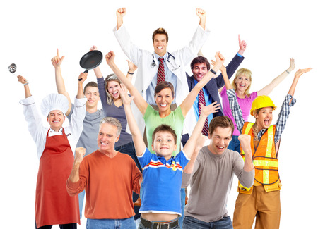 group of hands: Group of happy workers people isolated on white background. Stock Photo