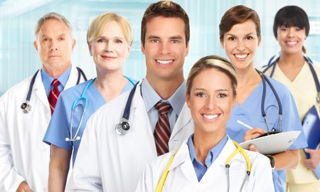 Group of medical doctors over blue hospital  photo