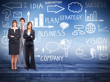 investigating: Business people group over conceptual  scheme background Stock Photo