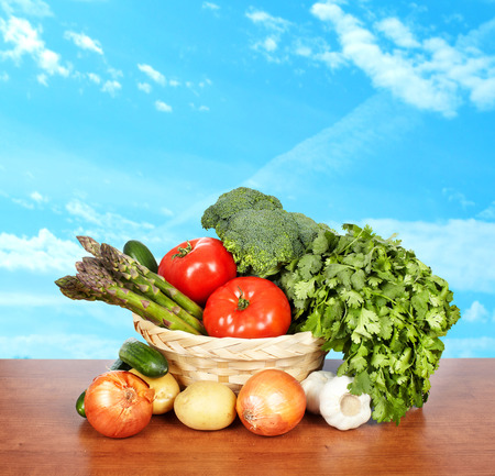 Set of vegetables. Healthy food and diet background. photo