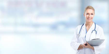 pharmacist: Female doctor over medical background.