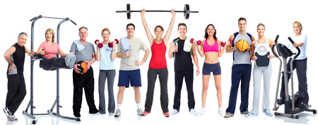 weight machine: Group of fitness people Stock Photo