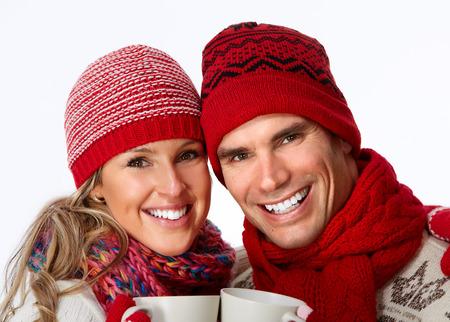 white winter: Christmas couple