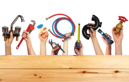 plumber tools: Set of construction tools. House renovation background. Stock Photo