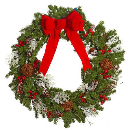 corona navidad: Corona de Navidad aislado en blanco. Foto de archivo