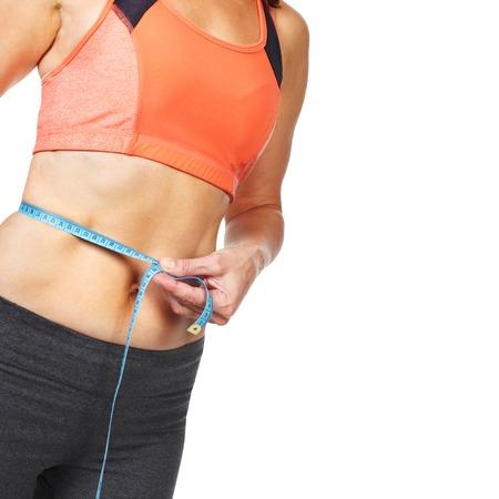 mujer gorda: Mujer medir su cuerpo