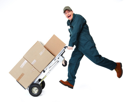 white goods: Happy postman with parcel