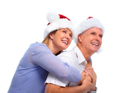 new age: Senior santa couple. Stock Photo