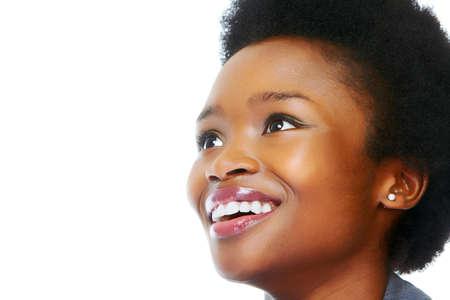 noir et blanc: Visage de femme africaine d'affaires Banque d'images