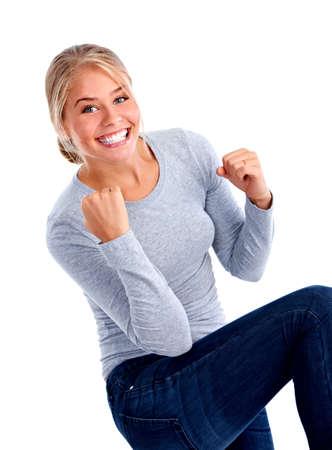 mujer: Mujer feliz. Foto de archivo