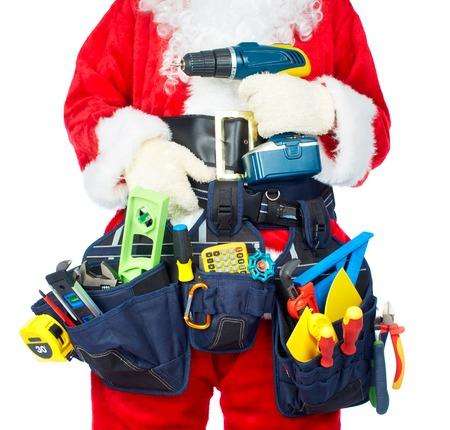 construction tools: Trabajador Santa con un cinturón de herramientas.