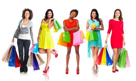 boxing day sale: Beautiful women with shopping bags.