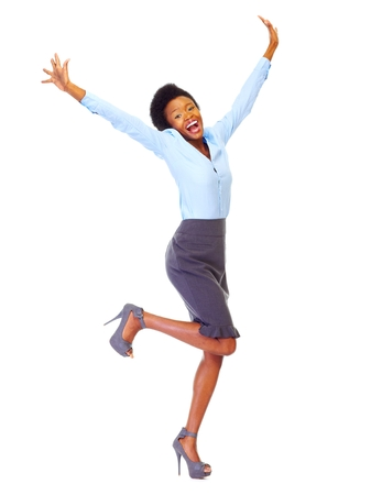 african american woman business: Happy african business woman