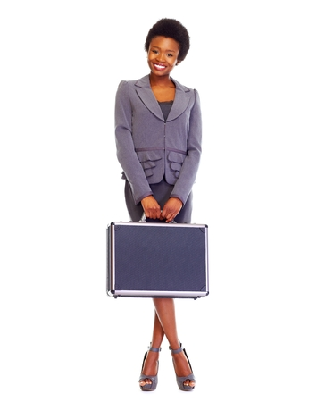 african business woman: Business woman with suitcase.