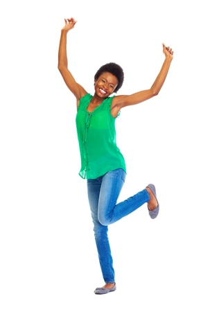 black t shirt: Happy African woman Stock Photo