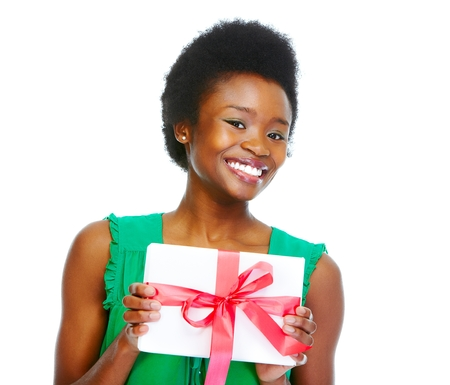 happy african woman: Beautiful african girl with gift. Stock Photo