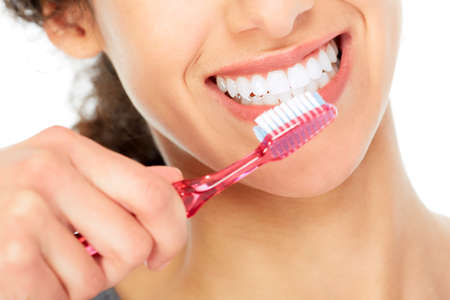 white teeth: Woman with toothbrush.