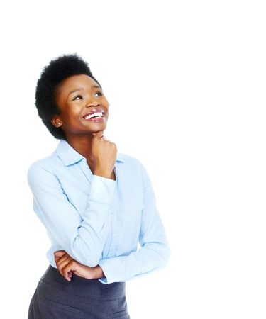 thinking woman: Young african business woman