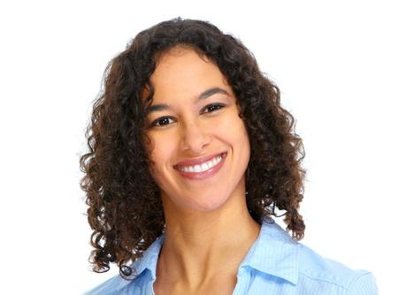 ni�as sonriendo: Cara sonriente mujer  Foto de archivo