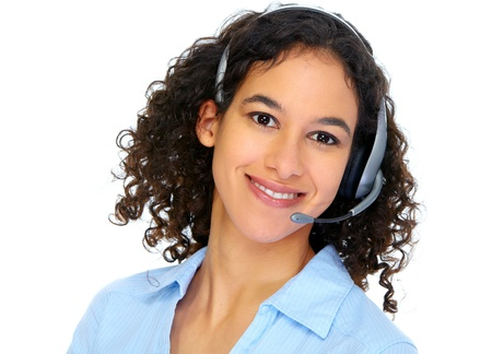 Operator woman with headsets photo