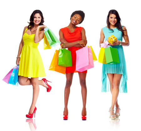 red bag: Beautiful women with shopping bags.