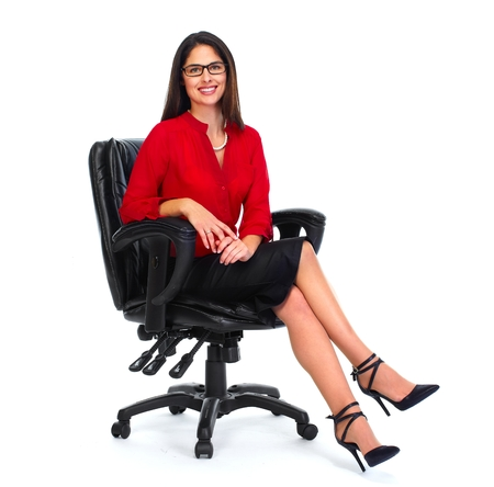 executive chair: Sitting business woman. Stock Photo
