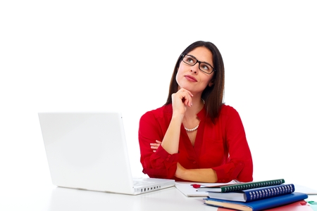 woman think: Beautiful business woman with laptop. Stock Photo