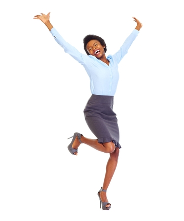 business: Happy african business woman