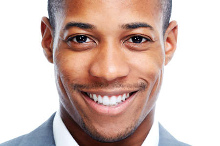 smile teeth: African American man. Stock Photo