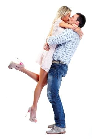 blonde couple: Happy loving couple kiss.