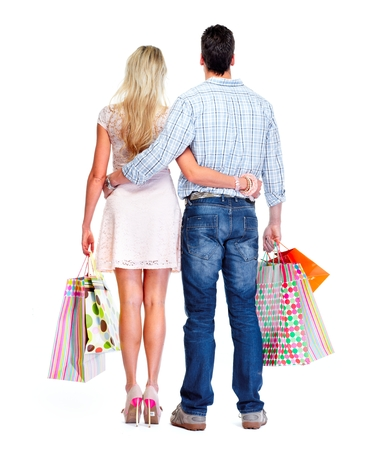 Loving couple with shopping bags. photo