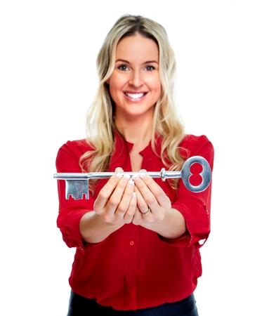 home key: Mujer con una tecla de inicio Foto de archivo